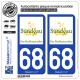 2 Autocollants plaque immatriculation Auto 68 Altkirch - Tourisme II
