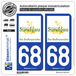 2 Autocollants plaque immatriculation Auto 68 Altkirch - Tourisme II
