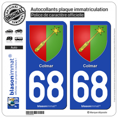 2 Autocollants plaque immatriculation Auto 68 Colmar - Armoiries