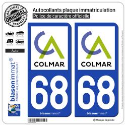 2 Autocollants plaque immatriculation Auto 68 Colmar - Agglo