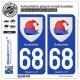 2 Autocollants plaque immatriculation Auto 68 Guebwiller - Armoiries