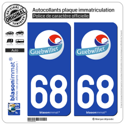2 Autocollants plaque immatriculation Auto 68 Guebwiller - Ville