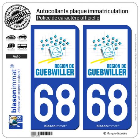 2 Autocollants plaque immatriculation Auto 68 Guebwiller - Agglo