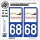 2 Autocollants plaque immatriculation Auto 68 Guebwiller - Tourisme