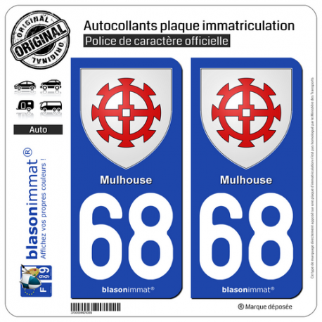 2 Autocollants plaque immatriculation Auto 68 Mulhouse - Armoiries