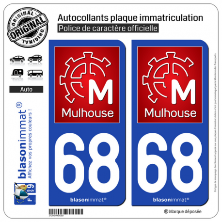 2 Autocollants plaque immatriculation Auto 68 Mulhouse - Ville