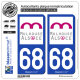 2 Autocollants plaque immatriculation Auto 68 Mulhouse - Agglo