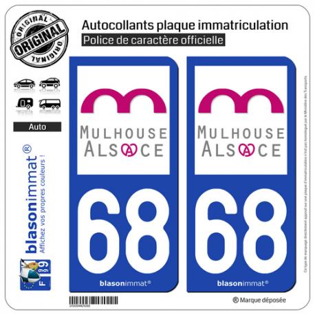 2 Autocollants plaque immatriculation Auto 68 Mulhouse - Agglo