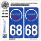 2 Autocollants plaque immatriculation Auto 68 Mulhouse - Tourisme