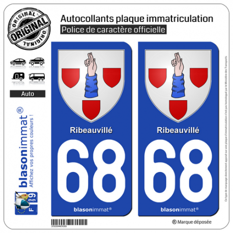 2 Autocollants plaque immatriculation Auto 68 Ribeauvillé - Armoiries