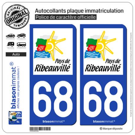 2 Autocollants plaque immatriculation Auto 68 Ribeauvillé - Agglo