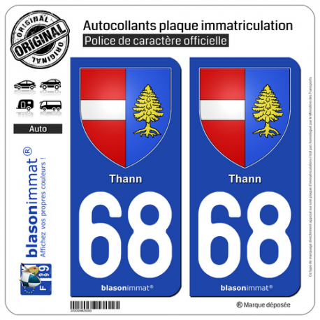 2 Autocollants plaque immatriculation Auto 68 Thann - Armoiries