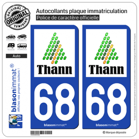 2 Autocollants plaque immatriculation Auto 68 Thann - Ville