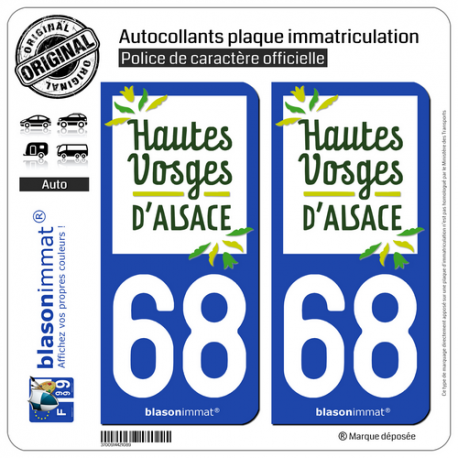 2 Autocollants plaque immatriculation Auto 68 Thann - Tourisme
