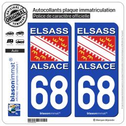2 Autocollants plaque immatriculation Auto 68 Alsace - Drapeau