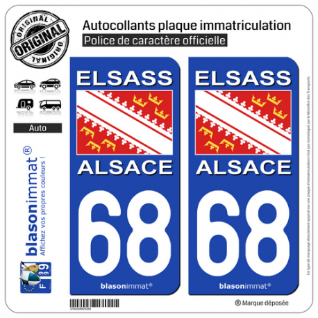 Badges, Insignes, Mascottes 68 Haut-rhin Alsace Departement Immatriculation 2 X Autocollants Sticker Auto