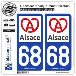 2 Autocollants plaque immatriculation Auto 68 Alsace - Région II