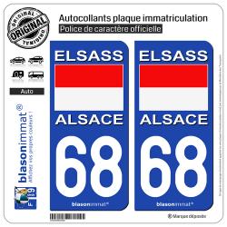 2 Autocollants plaque immatriculation Auto 68 Alsace - Drapeau Historique