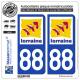 2 Autocollants plaque immatriculation Auto 88 Lorraine - LogoType