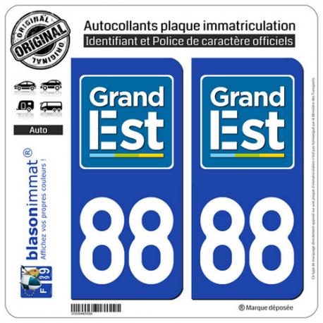2 Autocollants plaque immatriculation Auto 88 Grand Est - LogoType