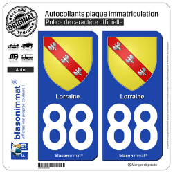 2 Autocollants plaque immatriculation Auto 88 Lorraine - Armoiries