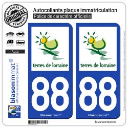 2 Autocollants plaque immatriculation Auto 88 Lorraine - Terres