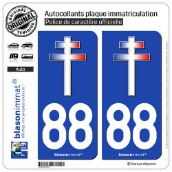 Jeu de 2 Stickers pour plaques d'immatriculation auto - Modèle : 88 Croix de Lorraine