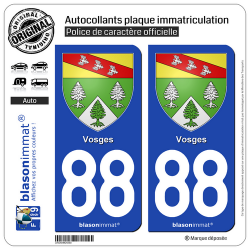2 Autocollants plaque immatriculation Auto 88 Vosges - Armoiries