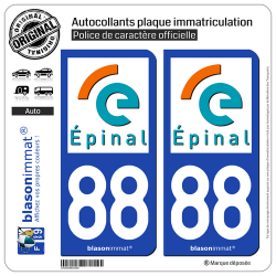 2 Autocollants plaque immatriculation Auto 88 Épinal - Ville