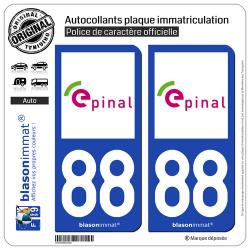 2 Autocollants plaque immatriculation Auto 88 Épinal - Tourisme