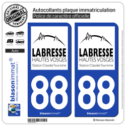 2 Autocollants plaque immatriculation Auto 88 La Bresse - Tourisme