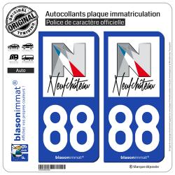 2 Autocollants plaque immatriculation Auto 88 Neufchâteau - Ville
