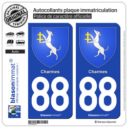 2 Autocollants plaque immatriculation Auto 88 Charmes - Armoiries