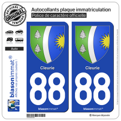 2 Autocollants plaque immatriculation Auto 88 Cleurie - Armoiries