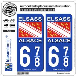 2 Autocollants plaque immatriculation Auto 678 Alsace - Drapeau