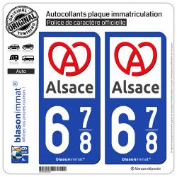 2 Autocollants plaque immatriculation Auto 678 Alsace - Région II