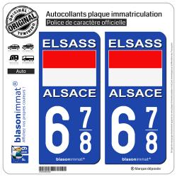 2 Autocollants plaque immatriculation Auto 678 Alsace - Drapeau Historique
