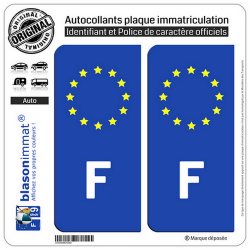 2 Autocollants plaque immatriculation Auto F France - Identifiant Européen