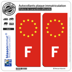2 Autocollants plaque immatriculation Auto F France - Identifiant Européen Fond Rouge