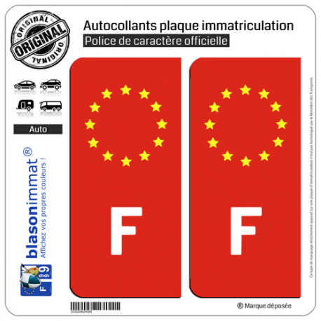 2 Autocollants immatriculation Auto F France - Identifiant Européen Rouge