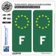 2 Autocollants immatriculation Auto F France - Identifiant Européen Vert