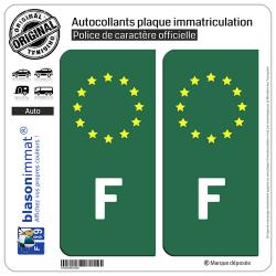 2 Autocollants plaque immatriculation Auto F France - Identifiant Européen Fond Vert