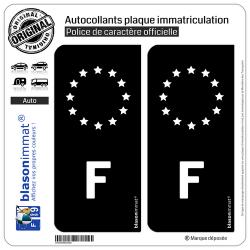 2 Autocollants immatriculation Auto F France - Identifiant Européen Noir & Blanc