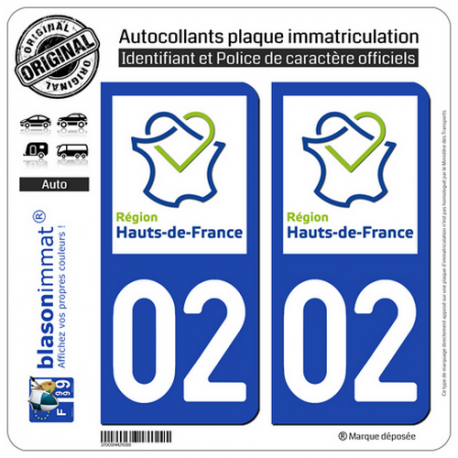 2 Autocollants plaque immatriculation Auto 02 Hauts-de-France - LogoType