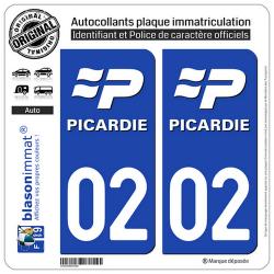2 Autocollants plaque immatriculation Auto 02 Picardie - LogoType