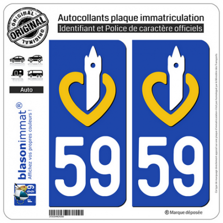 2 Autocollants plaque immatriculation Auto 59 Nord-Pas de Calais - LogoType