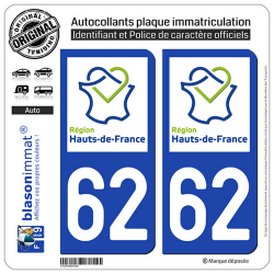 2 Autocollants plaque immatriculation Auto 62 Hauts-de-France - LogoType