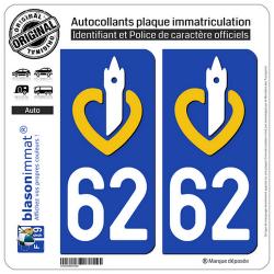 2 Autocollants plaque immatriculation Auto 62 Nord-Pas de Calais - LogoType