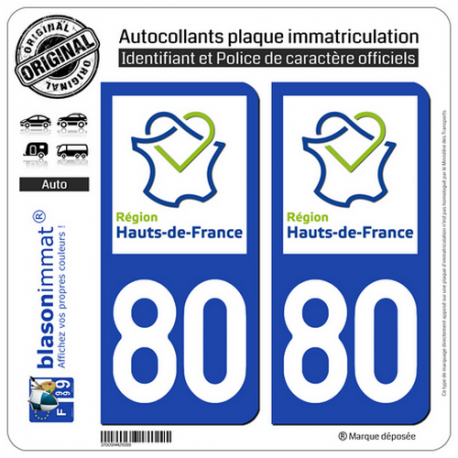 2 Autocollants plaque immatriculation Auto 80 Hauts-de-France - LogoType