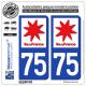 2 Autocollants plaque immatriculation Auto 75 Ile-de-France - LogoType
